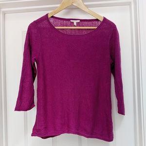 Eileen Fisher 100% linen 3/4 sleeve magenta top